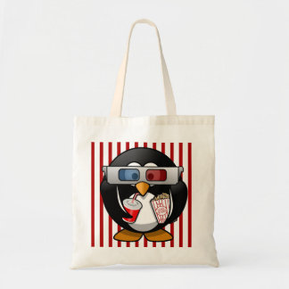 Cute Cartoon Penguin at the Movies With Stripes Canvas Bag