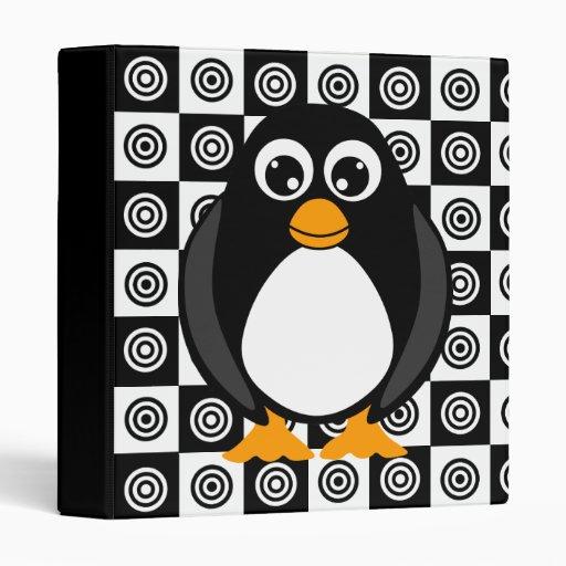 Cute Cartoon Penguin Black and White Vinyl Binders