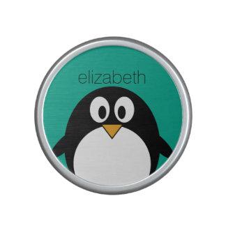 cute cartoon penguin emerald and black bluetooth speaker