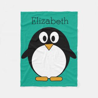 cute cartoon penguin emerald and black fleece blanket