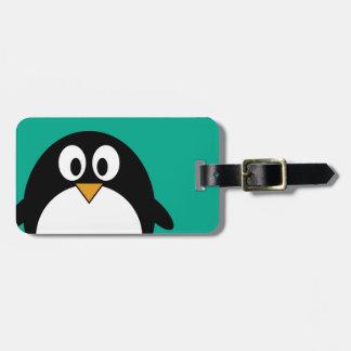 cute cartoon penguin emerald and black luggage tag