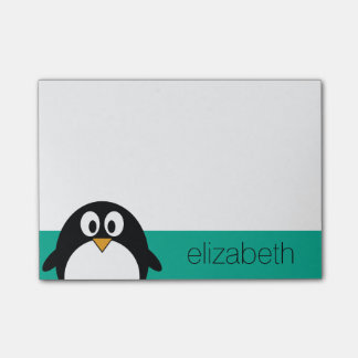 cute cartoon penguin emerald and black post-it® notes