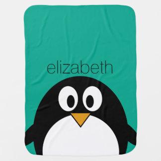 cute cartoon penguin emerald and black swaddle blanket
