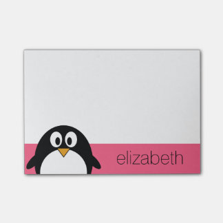 Cute Cartoon penguin Illustration Hot Pink Black Post-it Notes