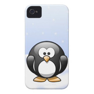 Cute Cartoon Penguin in a Snowy Winter Scene iPhone 4 Case