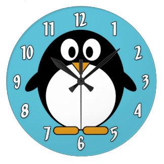 Cute Cartoon Penguin Large Clock