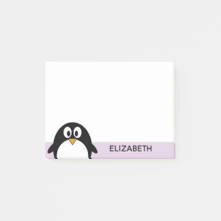 cute cartoon penguin lavender and black post-it notes