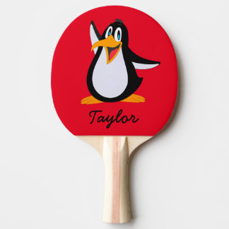 Cute Cartoon Penguin on Red with Name Ping Pong Paddle