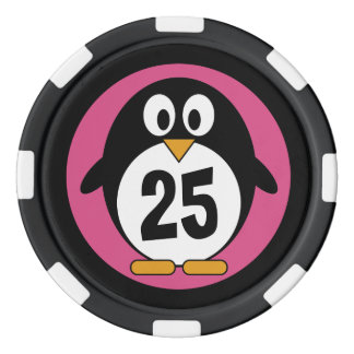 cute cartoon penguin pink and black poker chips