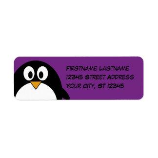 cute cartoon penguin purple