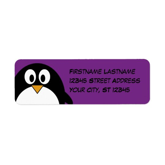 cute cartoon penguin purple