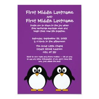 """cute cartoon penguin purple 5"""" x 7"""" invitation card"""