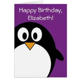 cute cartoon penguin purple card