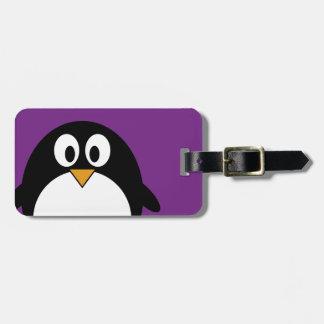 cute cartoon penguin purple luggage tag