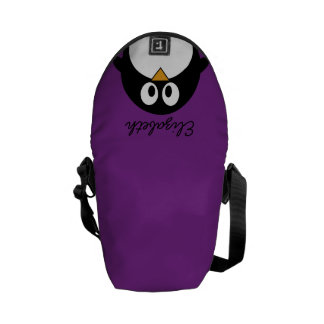cute cartoon penguin purple messenger bags
