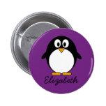 cute cartoon penguin purple pinback buttons