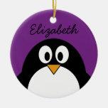 cute cartoon penguin purple round ceramic ornament