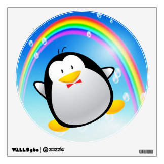 Cute Cartoon Penguin & Rainbow Wall Decal
