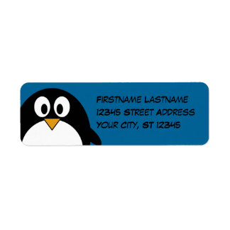 cute cartoon penguin with blue background return address label