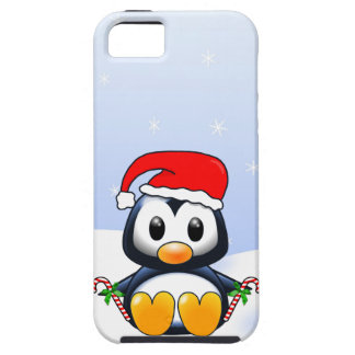 Cute Cartoon Penguin with Candy Canes iPhone 5 Cover