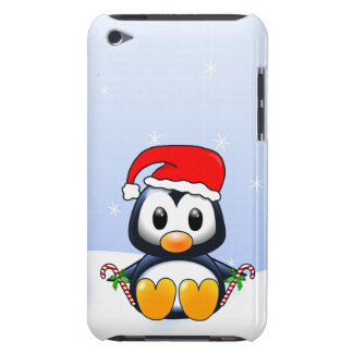 Cute Cartoon Penguin with Candy Canes iPod Touch Cover