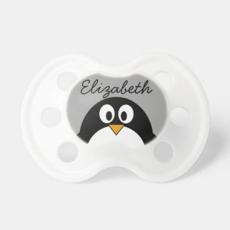 Cute cartoon penguin with grey background baby pacifier