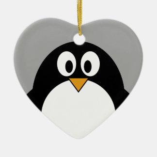 Cute cartoon penguin with grey background ceramic ornament