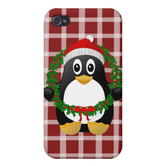 Cute Cartoon Penguin with Holly Wreath iPhone 4/4S Covers