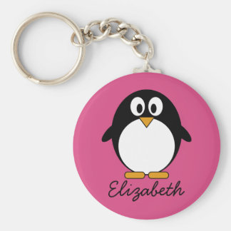 cute cartoon penguin with pink background keychain