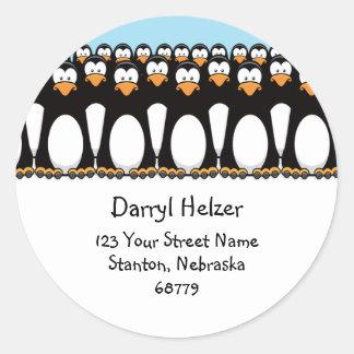 Cute Cartoon Penguins Fun Address Labels Round Sticker