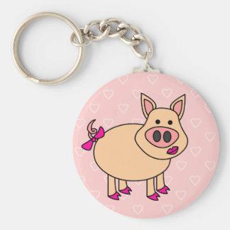 Cute Cartoon Pig Basic Round Button Keychain