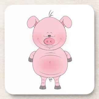 Cute Cartoon Pig Beverage Coasters