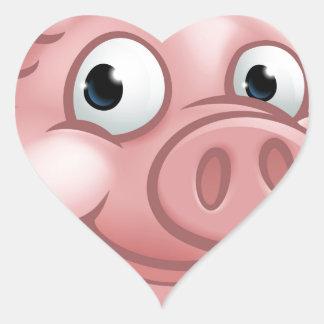 Cute Cartoon Pig Character Mascot Heart Sticker