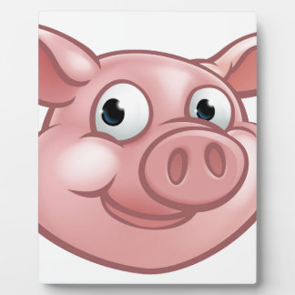 Cute Cartoon Pig Character Mascot Plaque