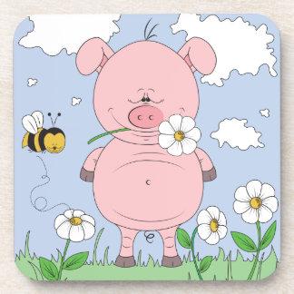 Cute Cartoon Pig Coaster