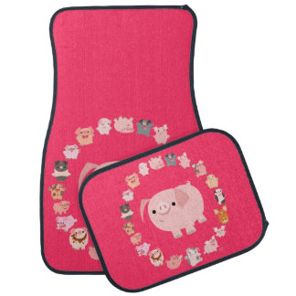 Cute Cartoon Pig Mandala Car Mats