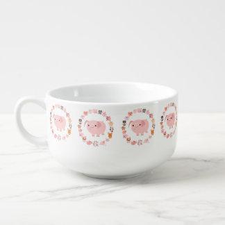 Cute Cartoon Pig Mandala Soup Mug
