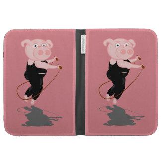Cute Cartoon Pig Skipping Kindle Keyboard Case