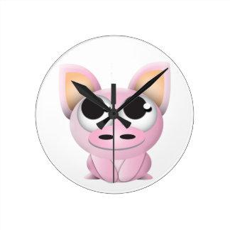 Cute Cartoon Pig Wall Clock