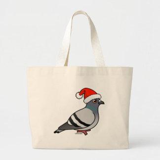 Cute Cartoon Pigeon Santa Large Tote Bag
