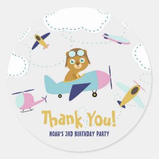 Cute Cartoon Pilot Bear Kids Birthday Thank You Classic Round Sticker