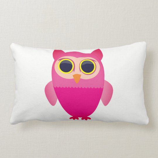 Cute Cartoon Pink Owl Lumbar Pillow