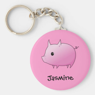 Cute Cartoon Pink Pig Personalized Name Gift Basic Round Button Keychain