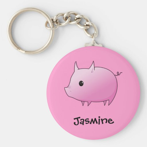 Cute Cartoon Pink Pig Personalized Name Gift Key Chain