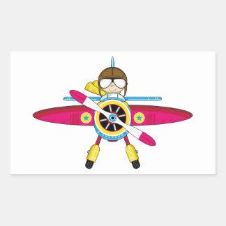 Cute Cartoon Plane and Pilot Sticker