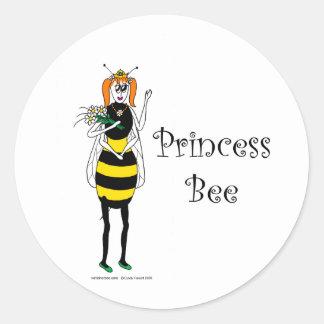 Cute cartoon Princess Bee Classic Round Sticker