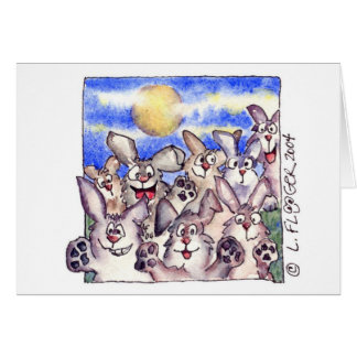 Cute Cartoon Rabbit Full Moon Card