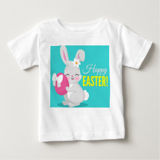 Cute cartoon rabbit girl hugging easter egg baby T-Shirt