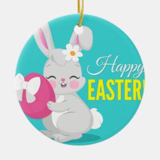 Cute cartoon rabbit girl hugging easter egg ceramic ornament