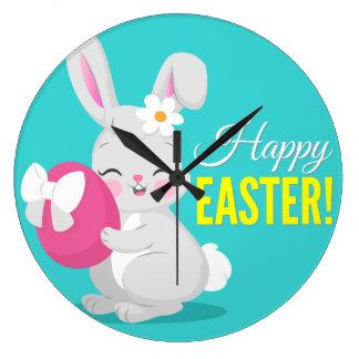 Cute cartoon rabbit girl hugging easter egg clocks